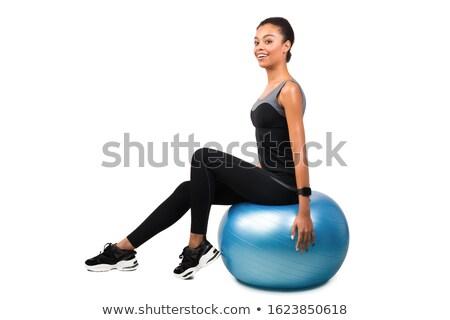 fitness · jonge · vrouw · oefening · bal · witte · jonge - stockfoto © CandyboxPhoto