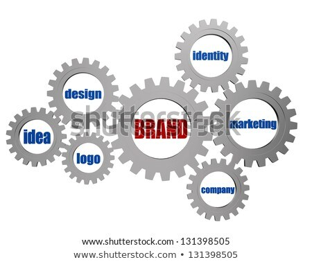 brand and business concept words in silver grey gears Stock photo © marinini