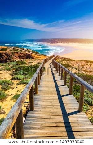 Portugal belle plage océan côte coucher du soleil Photo stock © joyr