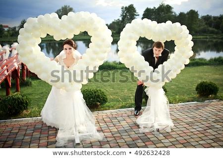 Foto stock: Coração · balões · cerimônia · de · casamento · branco · feliz · projeto