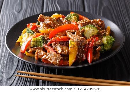 Frit légumes baguettes alimentaire asian carotte Photo stock © M-studio