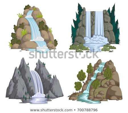 Waterfall scene with tree on the rock Stock photo © bluering