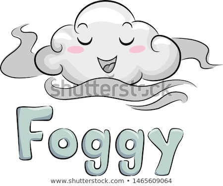 Mascotte brouillard illustration souriant heureusement pluie Photo stock © lenm