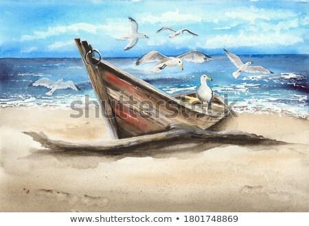 игрушку · паруса · лодка · деревянная · игрушка · пляж · воды - Сток-фото © magann