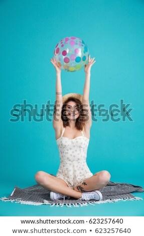 Stock fotó: Lány · tart · tengerpart · pléd · szél · női