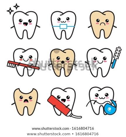 здорового · зубов · иллюстрация · синий · дизайна · зубов - Сток-фото © tefi