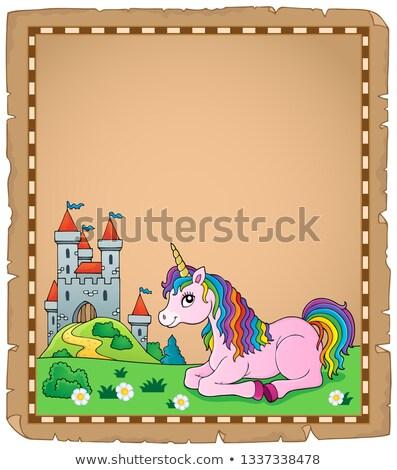 Parşömen kâğıt Bina sanat kale hayvan Stok fotoğraf © clairev