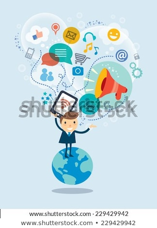 Business person standing with social media concept Stock photo © ra2studio