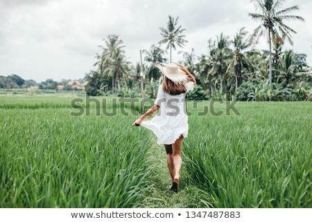 Nő sétál rizsföld Bali út tájkép Stock fotó © galitskaya