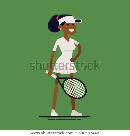 Women Playing Tennis. Vector Lady Holding Racket Stock photo © robuart