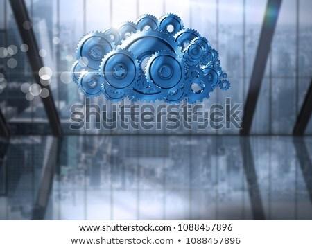 Roda dentada engrenagens nuvem cidade janela composição digital Foto stock © wavebreak_media