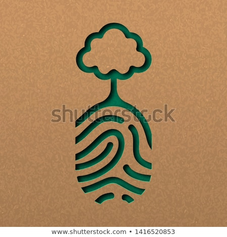 Natue paper cut concept of finger print with tree Stock photo © cienpies