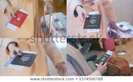 girl with a suitcase holds Japan, Canadian and American passport Stock photo © Margolana