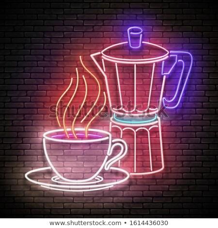 Bağbozumu parıltı kahve pot kafe etiket Stok fotoğraf © lissantee
