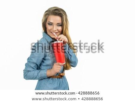 Gelukkig vrouw drinken coca cola amerikaanse Stockfoto © dolgachov