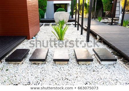 Preto pedras jardim numeroso pequeno Foto stock © searagen