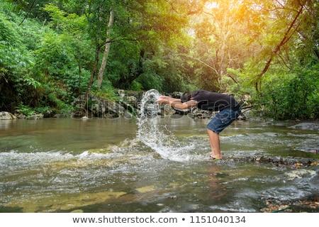 Fiú úszik szabadtér medence mosoly arc Stock fotó © meinzahn