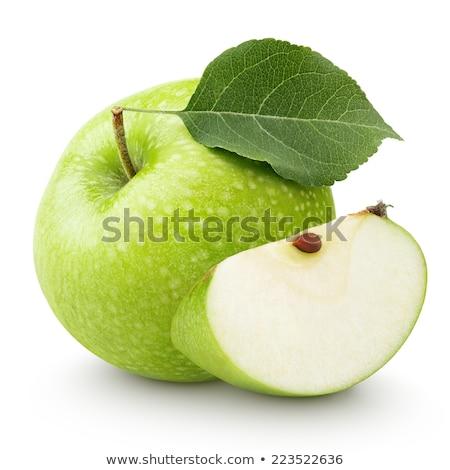 Sweet зеленый яблоко лист изолированный белый Сток-фото © natika