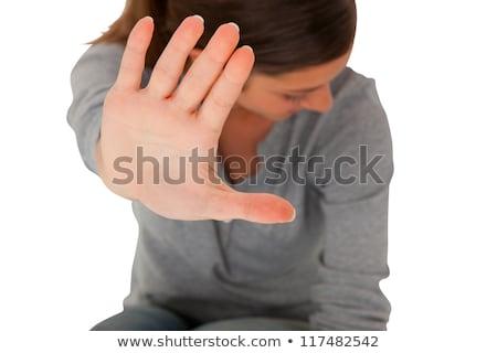 Tienermeisje hand omhoog geweld meisje Stockfoto © ambro