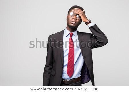 Felnőtt férfi öltöny fejfájás üzlet iroda Stock fotó © feelphotoart