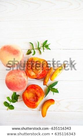 свежие персики мята белый Сток-фото © Yatsenko