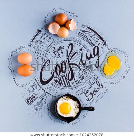 Vintage poster eieren koken tekeningen Stockfoto © DavidArts
