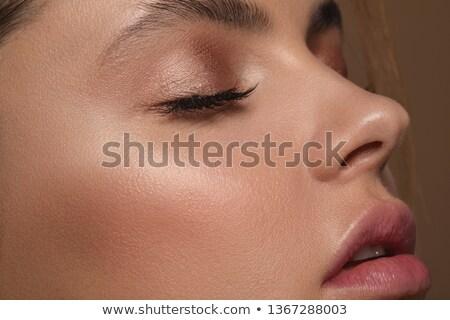 Nő csukott szemmel női adatbázis fehér háttér fiatal felnőtt Stock fotó © IS2