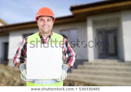 Helm bouwvakker man tekst vak ingesteld Stockfoto © toyotoyo