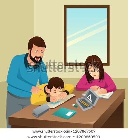 vader · zoon · lezing · vader · boek · zuigeling · zoon - stockfoto © artisticco