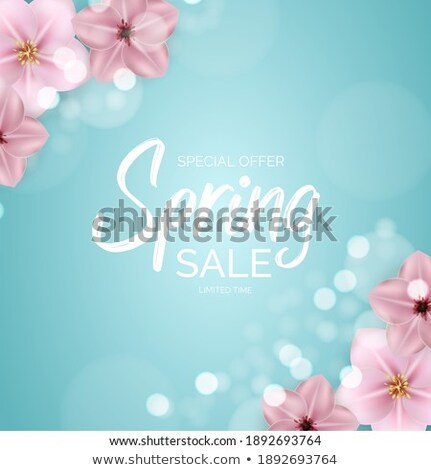 springtime label with flowers web offer vector stock photo © robuart