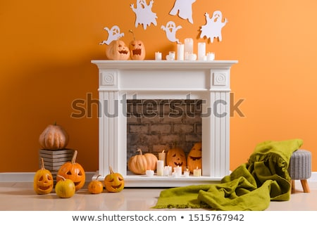 autumn halloween decorations and pumpkins stock photo © solarseven