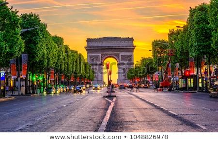 Arc de Triomphe Parijs Frankrijk dag vallen stad Stockfoto © neirfy