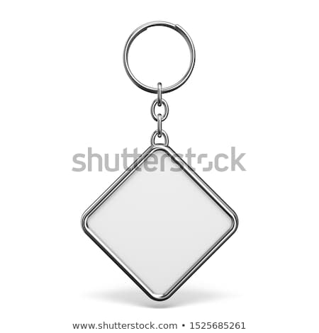 Blank metal trinket with a ring for a key rhombus shape 3D Stock photo © djmilic