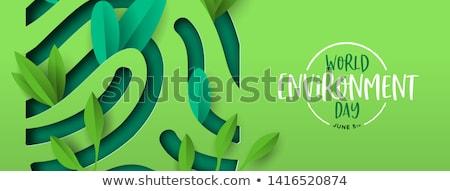Environment Day banner of green cutout fingerprint Stock photo © cienpies