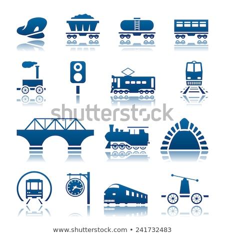 Cargo and passenger railroad cars vector illustration Stock photo © YuriSchmidt