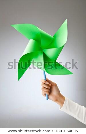 Windmolen portret vrouw speelgoed energie Stockfoto © iko