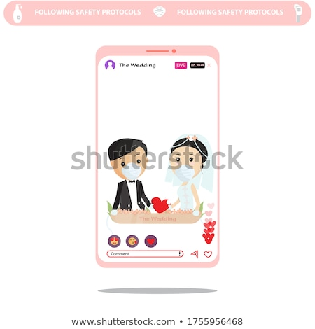 Groom and Bride, Wedding Ceremony Card Vector Stock photo © robuart