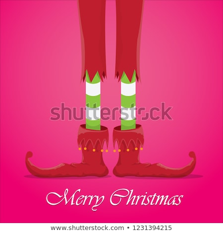 Merry Christmas Greeting Card with Xmas Elves Stock photo © robuart