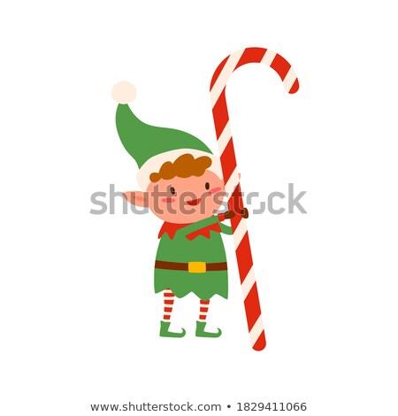 Christmas elf Święty mikołaj pomocnik lizak ikona Zdjęcia stock © robuart