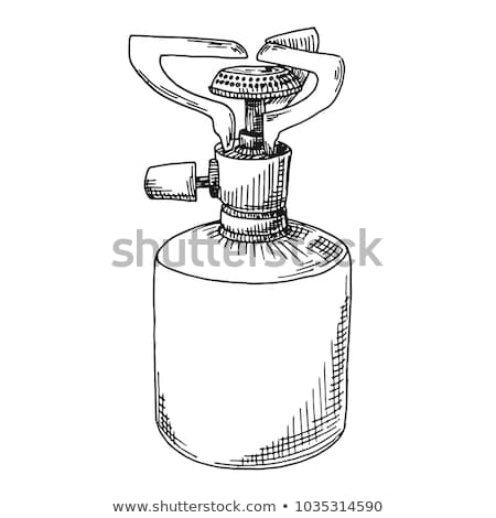 Sketch of a camping stove. Vector illustration. Burner isolated on white background. Stock photo © Arkadivna