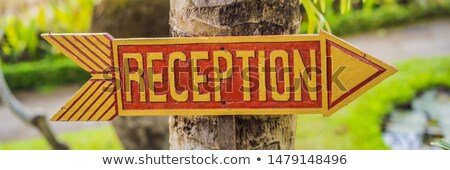 Hotel reception amidst forests and mountains. Tourist place. Traveler shelter BANNER, LONG FORMAT Stock photo © galitskaya