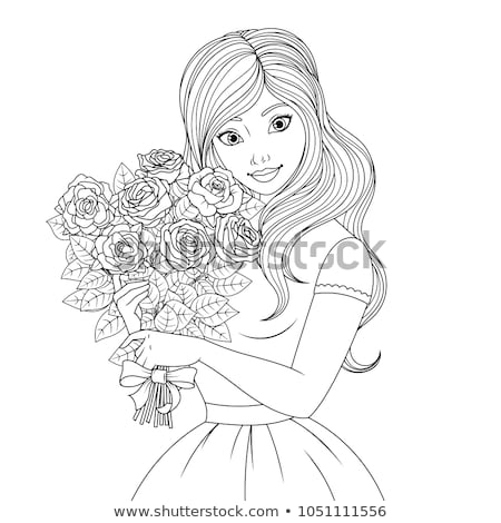 Coloring book rose flower image 1 Stock photo © clairev