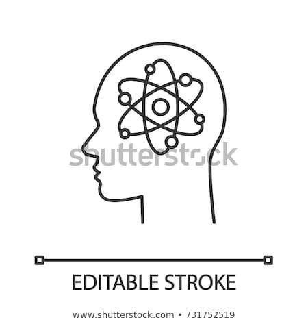 Atom emberi agy ikon vektor skicc illusztráció Stock fotó © pikepicture
