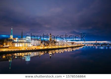 Riga Skyline with Landmarks, Blue Sky and Copy Space.  Stock photo © ShustrikS