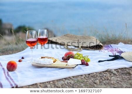 Pique-nique couverture romantique verres Photo stock © dashapetrenko