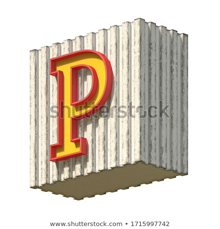 Vintage concrete red yellow font Letter P 3D Stock photo © djmilic
