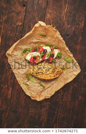 Healthy food concept. Sandwiches with hummus, mozarella, tomato, black olives Stock photo © dash