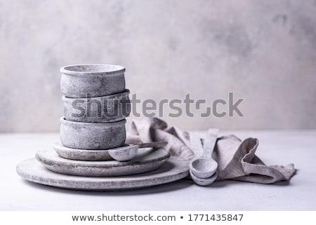 Kézzel készített kézzel készített beton tányérok tálak gyűjtemény Stock fotó © furmanphoto