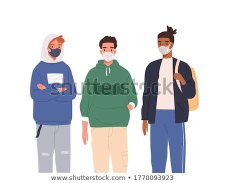 Illustration Mann tragen Gesicht medizinischen Maske Stock foto © robuart