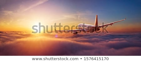 Jet plane in flight. Panoramic image. Stock photo © moses